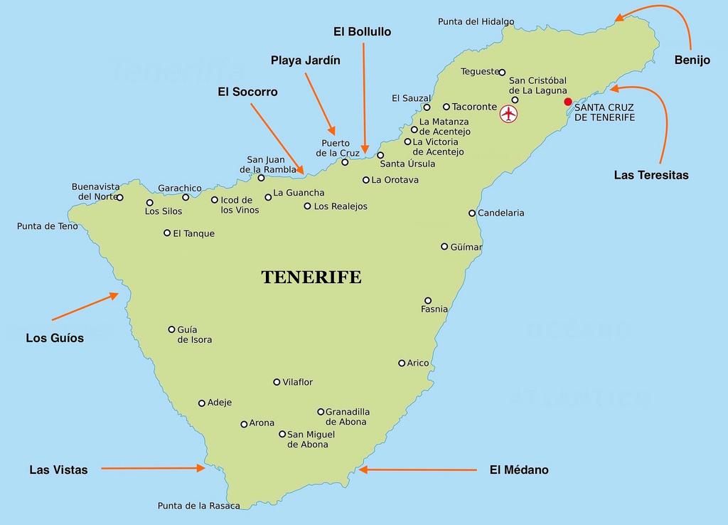 Mapa Tenerife Norte Playas Blog De Canarias Com