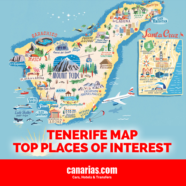 Map Of Spain Tenerife.Tenerife Map Top Places Of Interest Blog Of Canary Islands By Car